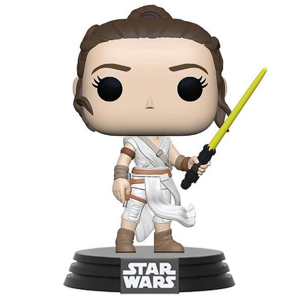 Star Wars - POP!-Vinyl Figur Rey mit gelbem Lichtschwert